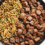 Garlic Butter Steak Bites with Zucchini Noodles