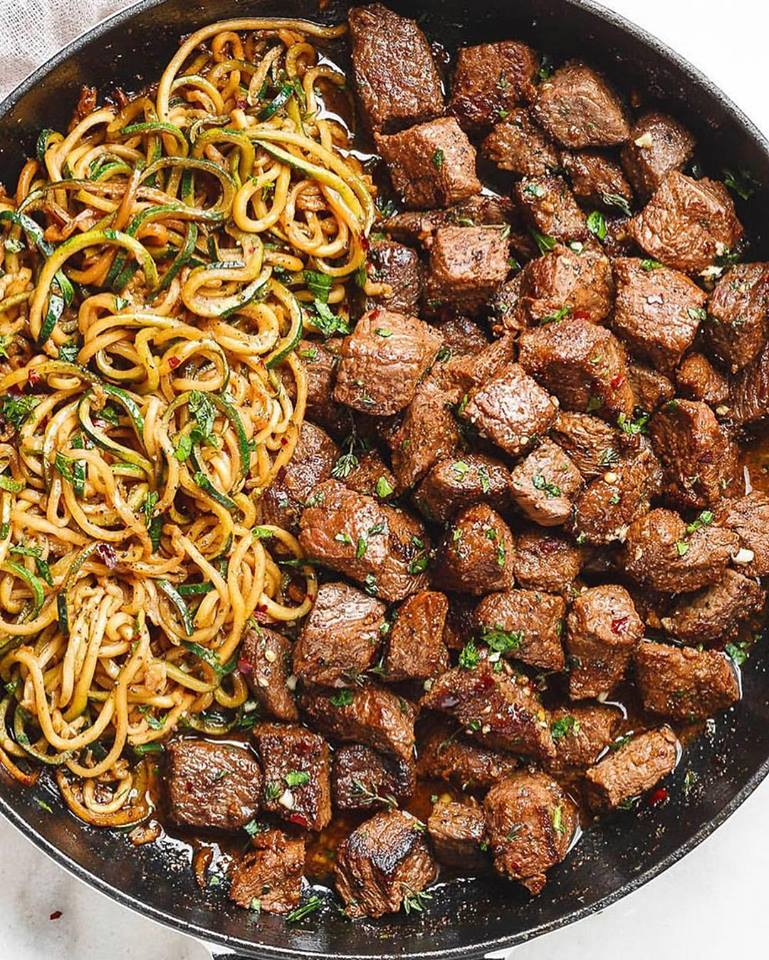 Garlic Butter Steak Bites with Zucchini Noodles