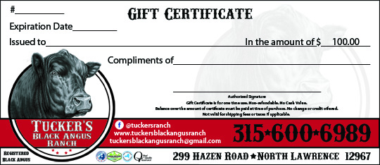 Tuckers Black Angus Ranch $100 Gift Certificate